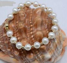 "7.5-8"" Inch 9-10MM White South Sea Natural Pearl Bracelet 14k Yellow Gold Clasp"