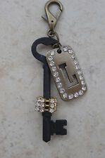 """INITIAL """"L"""" STEAMPUNK  KEY RING/PURSE  CHARM  HANDCRAFTED BY *KELLYS*KOUTURE*"""