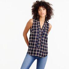 NWT $110 J.CREW Size 2 Sleeveless Silk-twill Top in Windowpane Print Style F4542