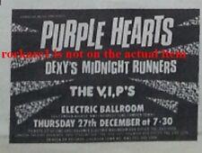 PURPLE HEARTS mods UK TIMELINE Advert  Electric Ballroom 27-Dec-1979 2x3 inches