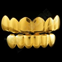 18K Gold IP Plated STAINLESS STEEL GRILLZ Hip Hop Mouth Grill Top & Bottom Teeth