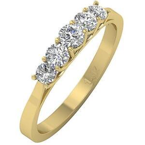 Five Stone Annivarsary Ring SI1 G 0.60Carat Natural Diamond 14K Yellow Rose Gold