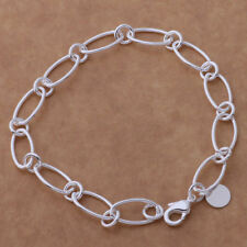 925 Silver PLT Charm Bracelet / Anklet / Chain Ladies Statement Gift Girl Womens