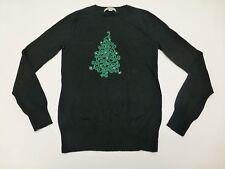 Merona Womens Small Thin Black Ugly Chrstmas Tree Sweater Great Condition