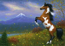 Paint pinto horse mountains autumn fall leaves limited edition aceo print art