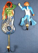 Mermaid and Scuba Diver rustic metal Decorative Wall Hooks Home Decor