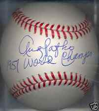 Andy Pafko 1957 Milwaukee Braves World Champs Autographed OML Baseball DECEASED