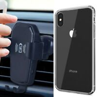 Clear Hard Case+Fast Car Wireless Charger Mount Holder for iPhone X XR XS Max 8+