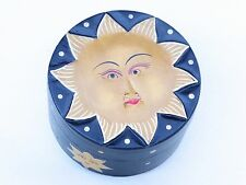 Wooden Sun Black Painted Trinket Box Diameter 13.5cm.....