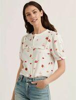 Lucky Brand NEW $60 Sz M Floral Button Down Printed Ruffle Bib Short Sleeve Top