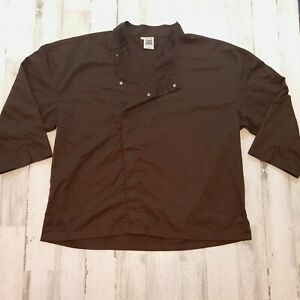 Chef Revival Mens Size 2X Chef Coat Mid Sleeve Brown