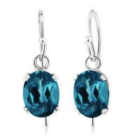1.80 Ct Oval London Blue Topaz 925 Sterling Silver Earrings