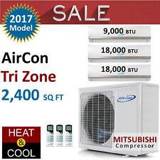 45000 BTU Tri Zone Ductless Mini Split Air Conditioner Heat Pump 9K 18K 18K New