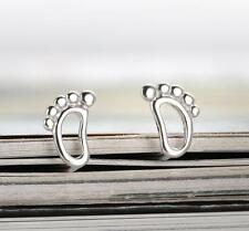 Korea Fashion Sweet Small Feet 925 Silver Plated All_match Party Stud Earrings
