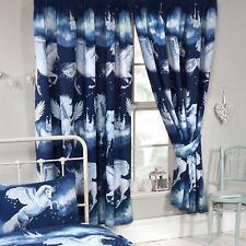 Stardust Unicornio Azul Marino Cortinas Forradas Niños 168cm X 183cm (168cm