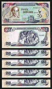 Jamaica 50 Dollars 2012, UNC, 5 Pcs LOT, P-89, Comm. 50 Years of Independence
