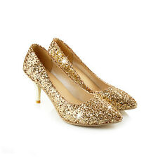 Womens Bling Glitter Sequins Low Heels Slip On Dress Party Pumps Prom Shoes Sz