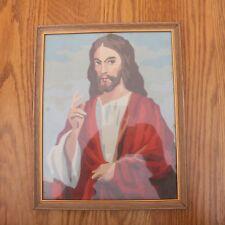 Vintage Paint by Number Jesus Hand Up Framed