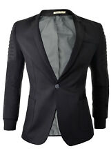 Mens Slim Fit Blazer Jacket Ribbed Arms Welts Casual Sport Coat Cotton Grey Blue