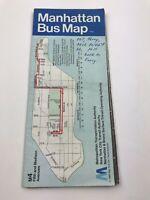Vintage 1982 Manhattan Bus Map New York City Transit Authority
