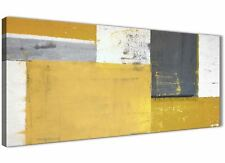 Mustard Yellow Grey Abstract Painting Canvas Wall Art Print - 120cm Wide - 1340