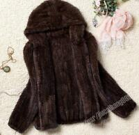 NEW!! 100% Real Genuine Knit Mink Fur with Hood Long Coat Outwear Jacket -2colou
