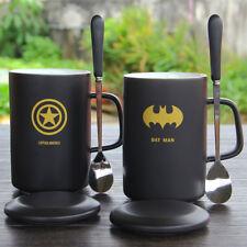 Super Hero Cartoon The Avengers Ceramic Mug Coffee Milk With Lid+Spoon Mark Cup