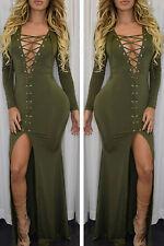 Abito lungo aperto spacco lacci stringhe nudo aderente Lace up Slit Maxi Dress
