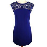 Karen Millen Royal Blue 10 Fitted Dress Lace Yoke Sleeveless Party Xmas