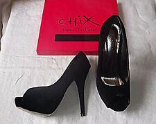 CHIX SIZE 4 BLACK FAUX SUEDE STILETTO 5 1/2 INCH HEEL CLUBBING CATWALK WOWFACTOR