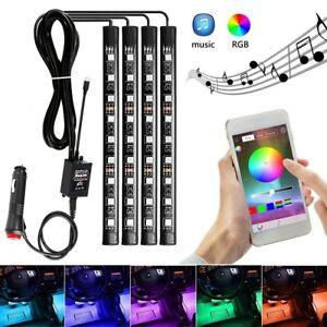4Pcs 9 LED Car Atmosphere RGB Light Strip Phone App Music Control Interior Kit