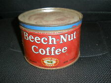Vintage BEECH-NUT COFFEE Brand Empty 1 Pound Tin with Lid