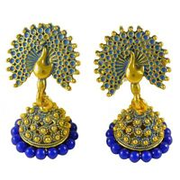 Bollywood Drop Dangle Traditional Earrings Indian Theme peacock Fashion Jewelry