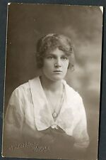 C1920's Portrait Photo Card - Young Lady wearing a Pendant