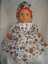 """Cupcake Dress, Bonnet & Booties.  Fit  Baby Born/Annabell16/18"""" Doll"""