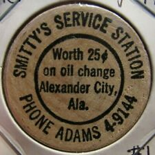 Vintage Smitty's Service Station Alexander City, AL Wooden Nickel - Alabama #1
