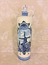 Antique Hand Painted Blue and White Wind Mill Holland Delft Pottery Vase w/ Lid