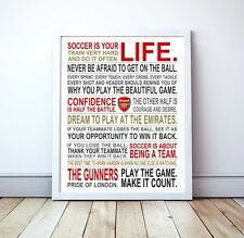 "Arsenal FC ""Soccer Is Your Life"" Manifesto Poster, 17"" x 22"""