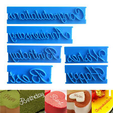6pcs Blue Words Letter Fondant Cake Mold Cutter Sugarcraft Decorating for Baking