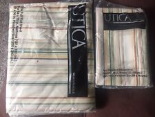 Utica JP Stevens Bed Sheet Full Flat Pillowcases Checked Whisper Stripe Bone NEW