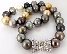GIA certified Natural Tahitian Pearl Necklace 4.00ct. diamonds 18Kt Magnificent+