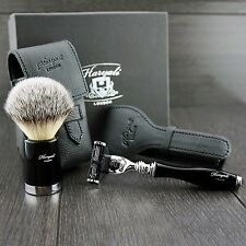 Travel Shaving Set with Gillette Mach 3 razor,shaving brush with Leather Covers
