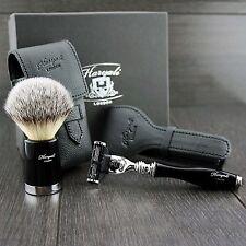 Viaje Afeitado Set con Gillette Mach 3 Maquinilla de afeitar, brocha de afeitar con cubiertas de cuero
