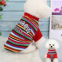 Rainbow Dog Knitted Jumper Knitwear Xmas Chihuahua Clothes Pet Puppy Cat Sweater