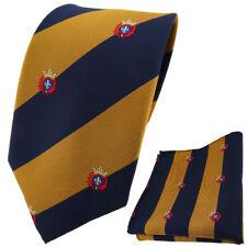 TigerTie DESIGNER Krawatte Einstecktuch Gold DUNKELBLAU gestreift mit Wappen