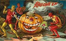 Vintage Halloween Fabric Block Warlocks Pumpkin Jack o Lantern Fabric Postcard