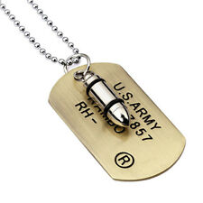 Mens Military Army Bullet Charm Dog Tags Chain Pendant Necklace Single Embossed