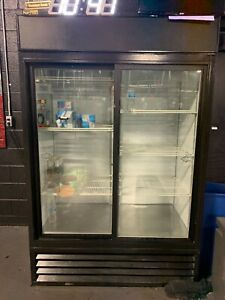 "True GDM-45-HC-LD 51"" Glass Slide Door Refrigerated Merchandiser w/ LED Lighting"