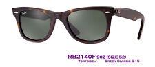 Authentic RayBan NEW WAYFARER Asian Fit RB2140F 902 Size52 Tortoise w/G-15 $150