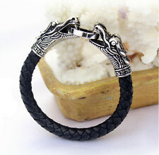 Gothic Genuine Leather Stainless Steel double dragon Bracelet Bangle Men Jewelry